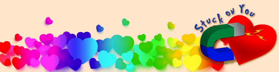 [cream background with rainbow hearts being pulled toward a red/blue magnet on the right]