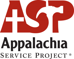 [appalchia service project logo, asp is in red with a cross making the middle of the A and a hammer shape between SP]