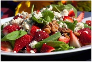 [salad showing strawberries, feta, spinach]